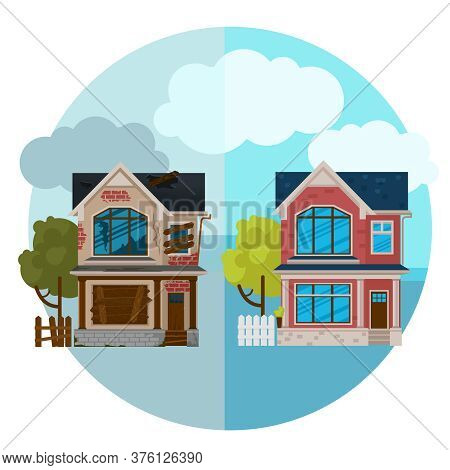 Cartoon Color Abandoned And Repaired Exterior House Building Concept Flat Design Style Symbol Of Ren