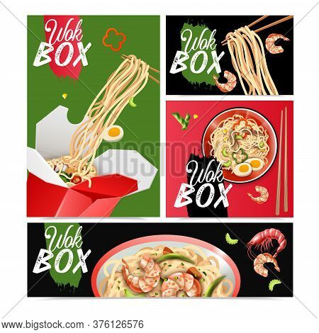Chinese Noodles 4 Realistic Advertising Posters Banners Set With Stir Fry Wok Dishes Vector Illustra