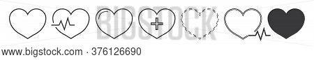 Heart Icon With Pulse. Healthy Cardio On Ecg. Heartbeat Symbol In Cardiology. Outline Black Logo Car