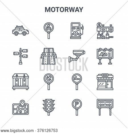 Set Of 16 Motorway Concept Vector Line Icons. 64x64 Thin Stroke Icons Such As Hospital, , Billboard,