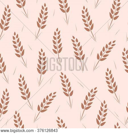 Seamless Pattern Of Wheat Ears. Vector Wallpaper Background Of Ears Of Grain Crops.