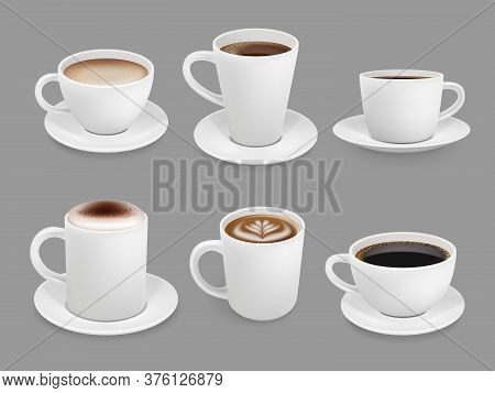 Coffee Cup Collection. Hot Drinks With Foam And Steam Smelling Beverage Top View Cup With Liquids Co