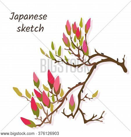 Japanese Banner With Plum Flowers On A White Background. Japanese Style Vector Illustration For Post