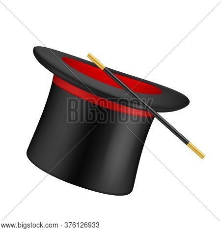 Realistic Top Hat. Magician Symbols Top Hat And Magical Wand Vector Illustration. Magic Hat To Enter