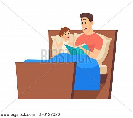 Bedtime Story. Father Reading To Son In Bed. Night Fairytale, Cute Boy And Man Together. Time With D