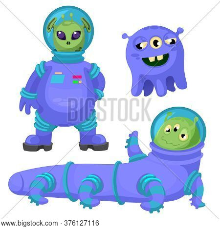 Cartoon Color Different Funny Aliens Icons Set Flat Design Style Symbol Of Extraterrestrial. Vector