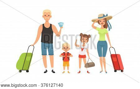 Family Tourists. Man Woman Children With Baggage. Isolated Travelers Go On Vacation Vector Illustrat