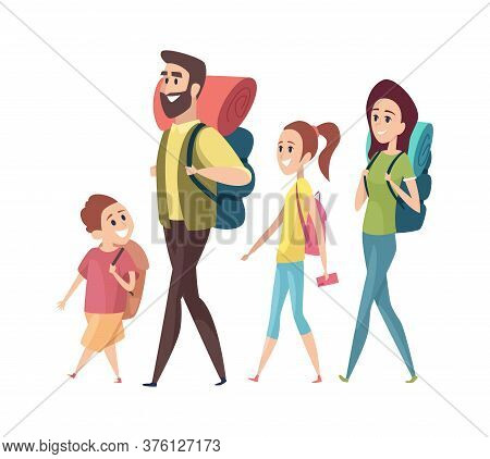 Hiking. Mom Dad Daughter Son With Backpacks. Isolated Tourists Characters Vacation Or Family Trip Ve