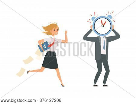 Managers Characters. Office Staff And Deadline Late For Work. Girl Wear Uniform And Papers Vector Il