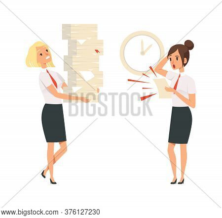 Office Managers. Unfulfilled Tasks, Deadline Time. Isolated Girls In Suits Scared And Tired Vector I