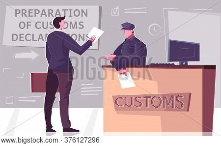Custom Declaration Flat Composition With Border Checkpoint Stand And Officer Of Red Channel With Edi
