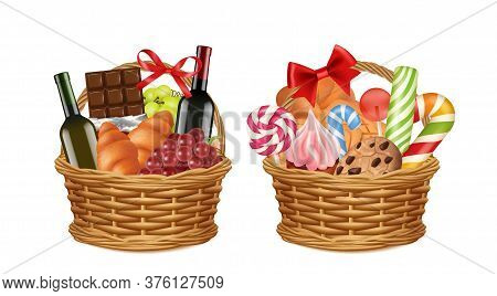 Christmas Gift Baskets. Realistic Food Packaging, Grocery Store Festive Promo Presents Vector Illust