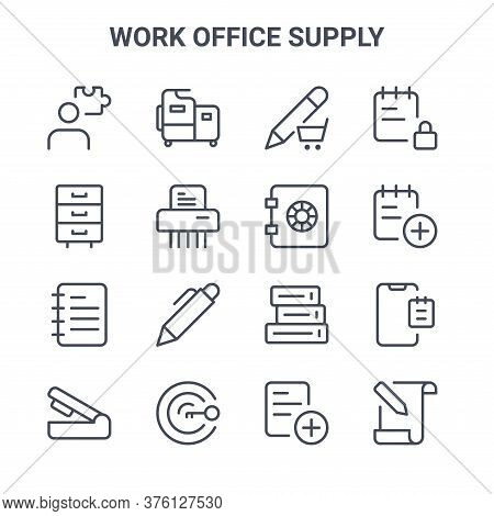 Set Of 16 Work Office Supply Concept Vector Line Icons. 64x64 Thin Stroke Icons Such As Machine, Fil