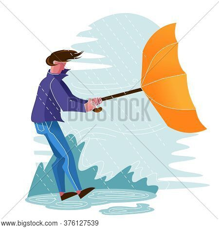 Cartoon Color Character Person Male With Umbrella And Walk In Rainy Day Concept Flat Design Style .