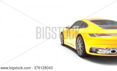 3d render of a sports car on a white background. nobody around.