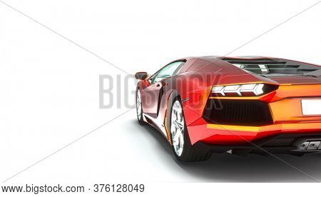 luxury sports car on white background. nobody around. speed concept. 3d render.