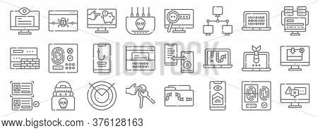 Hacker Line Icons. Linear Set. Quality Vector Line Set Such As Caution, Access, Key Ring, Data Theft