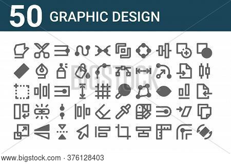 Set Of 50 Graphic Design Icons. Outline Thin Line Icons Such As Rotate, Resize, Rotate, Artboard, Ru
