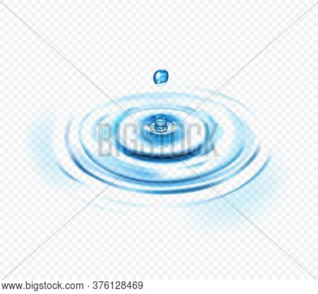 Water Ripple Realistic Transparent Concept With Drop And Circle Vector Illustration