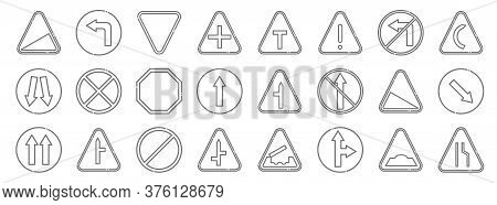 Signaling Line Icons. Linear Set. Quality Vector Line Set Such As Narrow Road, Go Straight Or Right,