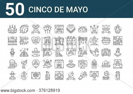 Set Of 50 Cinco De Mayo Icons. Outline Thin Line Icons Such As Fajitas, Mexican, Beer, Mexican Man,