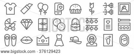 Mothers Day Line Icons. Linear Set. Quality Vector Line Set Such As Mirror, Grandmother, Dress, Slip
