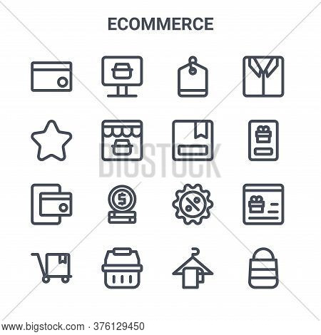 Set Of 16 Ecommerce Concept Vector Line Icons. 64x64 Thin Stroke Icons Such As Online Shop, Favorite