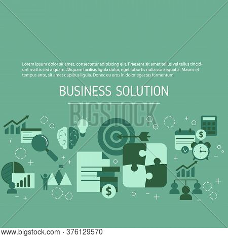 Business Solutions Background With Business Icons. Solution And Success, Strategy Vector Illustratio