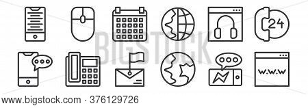 12 Set Of Linear Contact Icons. Thin Outline Icons Such As Www, Global Communication, Telephone, Cus