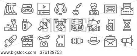 News Line Icons. Linear Set. Quality Vector Line Set Such As Propaganda, Fedora Hat, Memory Card, Mi