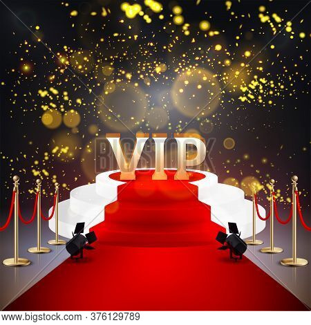 Realistic Colored Red Carpet Composition With White Stairs Lights Confetti Salute And Vip Abstract W