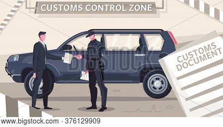 Customs Clearance Cars Flat Composition With Stripes And Document Images With Characters Of Guard An