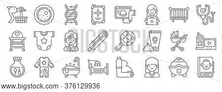 Maternity Line Icons. Linear Set. Quality Vector Line Set Such As Guidebook, Nurse, Cradle, Sperm, B