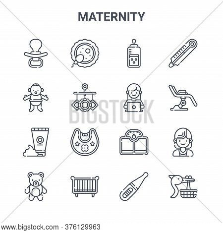 Set Of 16 Maternity Concept Vector Line Icons. 64x64 Thin Stroke Icons Such As Fertilization, Baby B