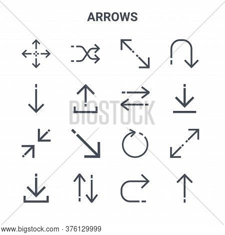 Set Of 16 Arrows Concept Vector Line Icons. 64x64 Thin Stroke Icons Such As Shuffle Arrows, Down Arr