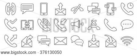 Communication Line Icons. Linear Set. Quality Vector Line Set Such As Wi Fi, Mail, Mail, Communicati