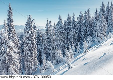 Wonderful Winter Landscape. Awesome Alpine Highlands In Sunny Day. Christmas Holyday Concept. Winter