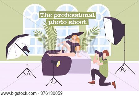Photo Studio Flat Composition With Indoor Scenery Female Fashion Model Lighting Equipment And Photog