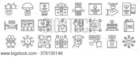Charity Line Icons. Linear Set. Quality Vector Line Set Such As Charity, Charity, Pills,