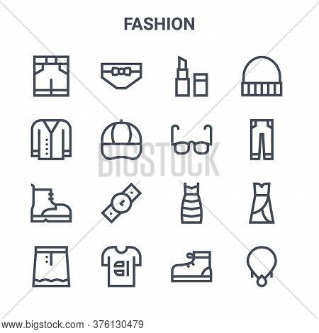 Set Of 16 Fashion Concept Vector Line Icons. 64x64 Thin Stroke Icons Such As Panties, Cardigan, Jean
