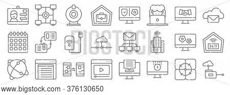 Telecommuting Line Icons. Linear Set. Quality Vector Line Set Such As Cloud Computing, Online Paymen