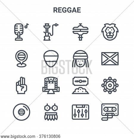 Set Of 16 Reggae Concept Vector Line Icons. 64x64 Thin Stroke Icons Such As Hookah, Jamaica, Jamaica