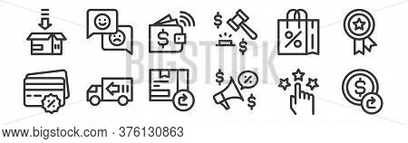 12 Set Of Linear Ecommerce Icons. Thin Outline Icons Such As Refund, Promotion, Delivery Truck, Shop
