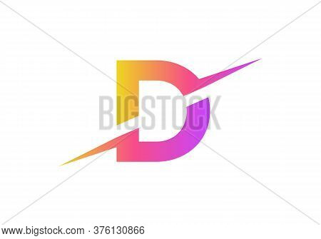 D Letter Logo With Slice Concept Vector. Colorful Slice D Letter Logo Modern, Minimal, Elegant, Bran
