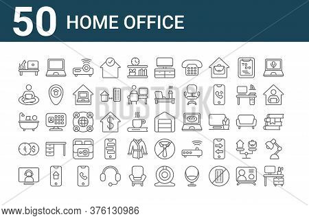 Set Of 50 Home Office Icons. Outline Thin Line Icons Such As Desk, Video Call, Money, Bath, Working,