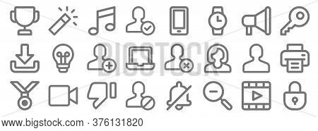User Interface Line Icons. Linear Set. Quality Vector Line Set Such As Locked, Zoom Out, Block User,