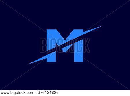 M Letter Logo With Slice Concept Vector. Colorful Slice M Letter Logo Modern, Minimal, Elegant, Bran