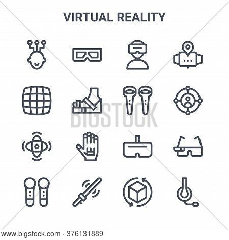Set Of 16 Virtual Reality Concept Vector Line Icons. 64x64 Thin Stroke Icons Such As D Glasses, Grid