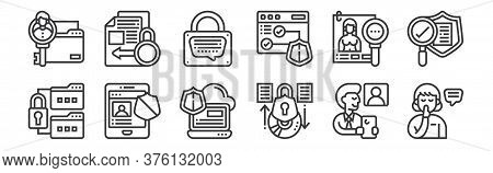 12 Set Of Linear Confidential Information Icons. Thin Outline Icons Such As Confidential, Protection