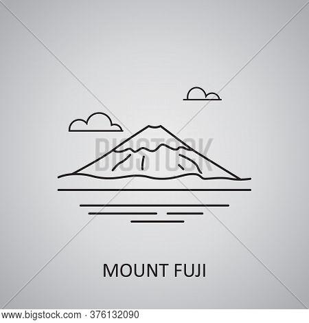 Mount Fuji In Japan, Honshu Icon. Mount Fuji In Winter. Japanese Landscape